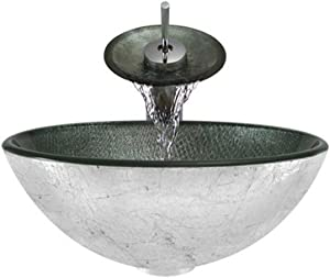Aurora Sinks A11-C-G Bathroom Ensemble with Grid Drain, Glass Vessel, Sink, Ring and Waterfall Faucet, Chrome