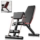 Ajumker Panca regolabile per pesi, panca per allenamento e gambe, 4 in 1, per allenamento a casa, palestra, sollevamento pesi, panca per allenamento ginnico