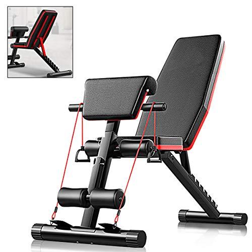 AJUMKER Banco de pesas plegable, banco de entrenamiento de piernas 4 en 1 para entrenamiento en casa, gimnasio, multifunción Antideslizante para de espalda abdominal Bancos de pesas de fuerza