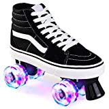 Roller Skates Clásica Artística para Jóvenes Adultos, Seguro Y Duradero Roller Skates Quad Lona para El Hombre Y La Mujer 4 Ruedas De Patinaje con Todas Las Ruedas Light Up,Negro,38