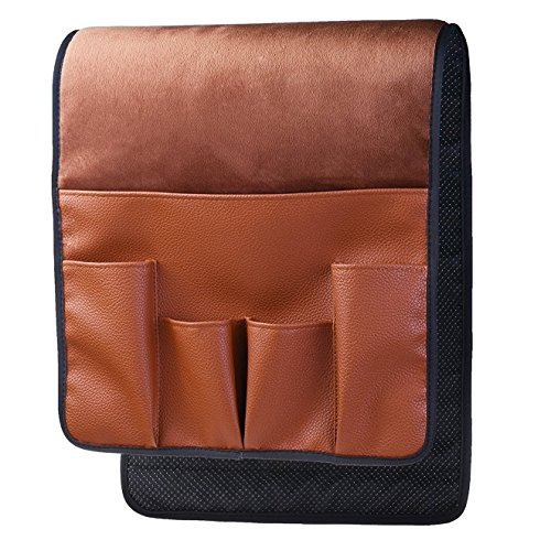BASELIFE Space Saver Sofa Couch Chair Armrest Organizer,Magazine Rack, Draped over Sofa, Couch, Recliner Armrest for Remote Control, Cell Phone, Book, Pencil (BROWN)