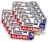 Sticker Alarme Vidéo Surveillance Autocollant (Lot de 10 Stickers)