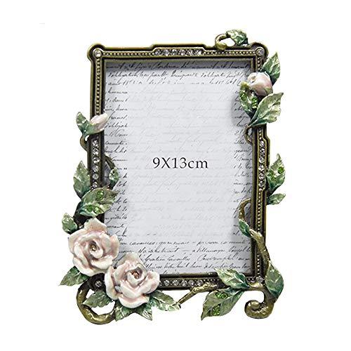Barocker Fotorahmen Vintage Blumen Emaille Metall Bilderrahmen Desktop-Dekorationen, Geburtstag, Hochzeit Souvenirs Poster Fotorahmen (Farbe : Picture Color, Size : 9x13cm)