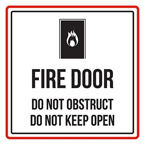 Maureen52Dorothy Señal de advertencia de seguridad para puerta de incendio con texto en inglés 'Do Not Obstruct Do Not Keep Open', color rojo, negro y blanco, vinilo cuadrado con signos de la ocupación, calcomanías de etiqueta Sqaure 9 x 9