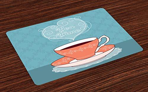 ABAKUHAUS Thee Placemat Set van 4, Teatime Kalligrafie met een Cup, Wasbare Stoffen Placemat voor Eettafel, Slate Blue Maroon