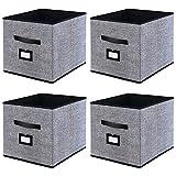 homyfort Caja de Almacenaje Set de 4 Cajas de Juguetes, Caja de Tela para Almacenaje con Cuero maneja y Etiqueta, 33 x 38 x 33 cm, Negro Lino, XABXL04PLP