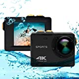 Caméra d'action 4K, Vmotal GSV8580 WiFi Ultra HD 16MP Caméra d'action étanche avec Objectif Grand Angle de 140 degrés (6 G), Caméra de Sport sous-Marin avec écran LCD de 2,0 Pouces