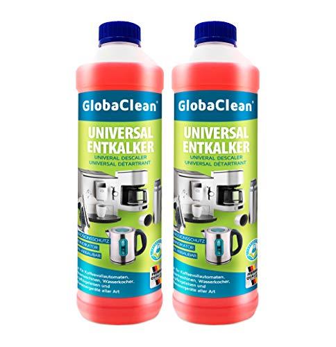 GlobaClean® Flüssig-Entkalker für Kaffeevollautomat, Kaffeemaschine, Kaffeepadmaschinen - mit Farbindikator (2x 750ml)