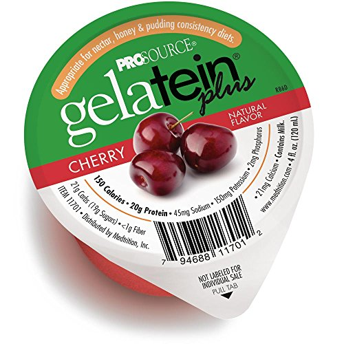 Gelatein Plus Cherry: 20 Grams of Protein. Ideal for Clear Liquid Diets, swallowing Difficulties, bariatric, Dialysis and Oncology. Great pre or Post-Workout Snack. (12 Pack)