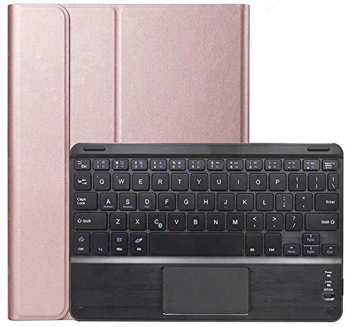 Funda con Teclado para Galaxy Tab A7 De 10,4 Pulgadas (SM-T500 / T505 / T507 2020), Teclado Inalámbrico Desmontable con Panel Táctil, Funda De Cuero PU,Rose Gold