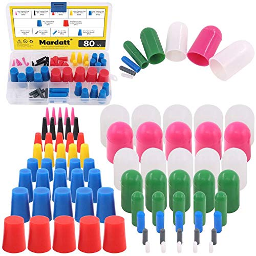 Mardatt 80Pcs Silicone Rubber Tapered Stopper Plug and Protective End Cap Assortment Kit Withstand High Temperatures for Powder Coating Painting Anodizing Repairing Masking Spraying