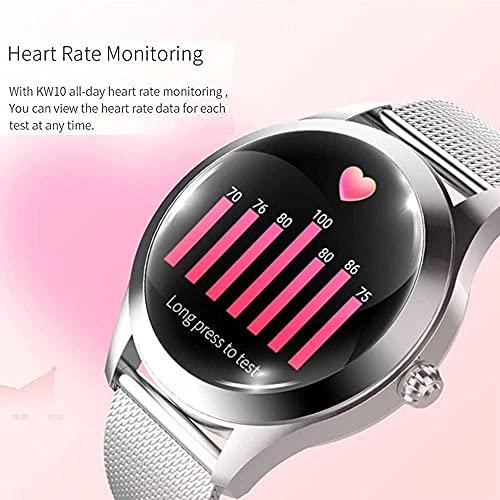 Reloj Inteligente KW10 Señoras Fitness Pulsera Tracker Monitor de Ritmo Cardíaco Sportwatch IP68 Reloj Impermeable Smartwatchandroid IOS-VS