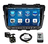 Car GPS Navigation System for KIA Sorento 2014 2015 Double Din Car Stereo DVD Player 8 Inch Touch Screen TFT LCD Monitor In-dash DVD Video Receiver with Built-In Bluetooth TV Radio, Support Factory Steering Wheel Control, RDS SD/USB iPod AV BT AUX IN+ Free Rear View Camera + Free GPS Map of USA