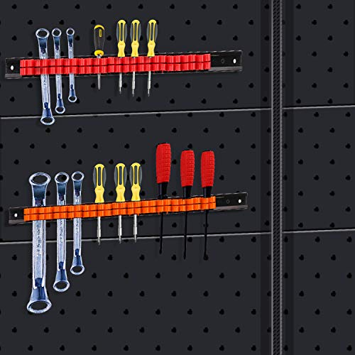 3-H Screwdriver Storage Rack, Wall Mount Screwdriver Organizer,ABS Tool Rail Rack Holder Organizers (2 black 1 red 1blue 1 green 1 orange)