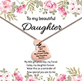 Daughter Valentine Necklace Gift from Mom or Dad - ''MY LITTLE GIRL YESTERDAY MY FRIEND TODAY MY DAUGHTER FOREVER'' Heart Pendant Necklace, Jewelry for Women & Teens (Rose Gold)