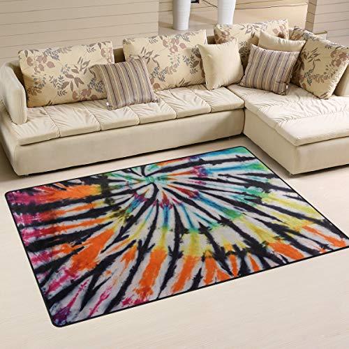 LZXO Teppich für Wohnzimmer abstrakter Swirl Batik-Teppich Schlafzimmer Teppich Fußmatte – 152 x 100 cm Moderner Bereich Teppich Pad Decor Matte, Polyester, multi, 31x20in