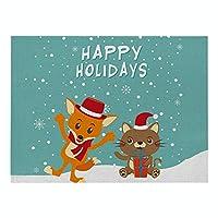 ランチョンマット 北欧 クリスマス 4枚セット おしゃれ 単層幾 綿とリネン プレースマット キツネとクマ ランチマット 布 華やか卓上飾り 高温耐性滑り止め防しわ 西洋料理マット コーヒーマット家庭 レストラン 用 贈り,21X32cm