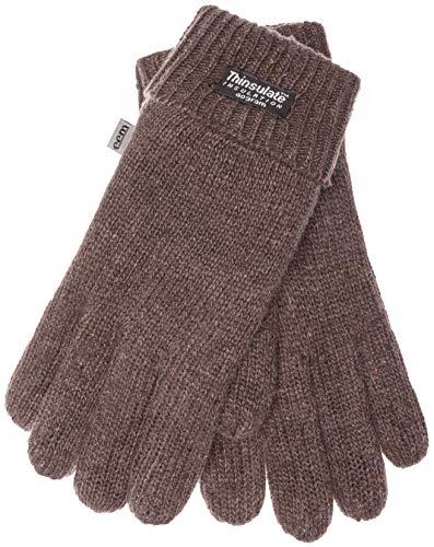 EEM Herren Strick Handschuhe LASSE mit Thinsulate Thermofutter aus 100% Wolle, modisch, warm, elegant; braun, M
