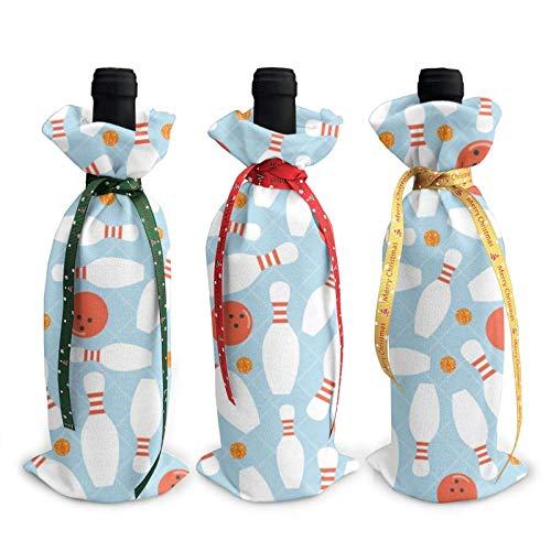 3 Stück Weinflaschentaschen, Bowlingkugel Orange Dot Glitter Weihnachten Einkaufstasche, Partyartikel, Weihnachten, Urlaub und Wein Party Supplies
