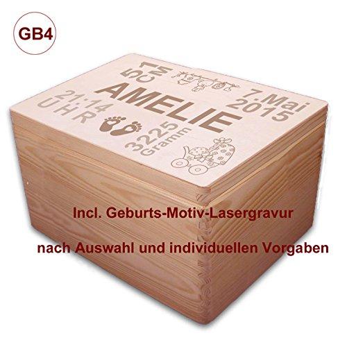 MidaCreativ zur Geburt, große Holz-Geschenkbox Gr. 3, Kiefer incl. Auswahl-Lasergravur (GB4)