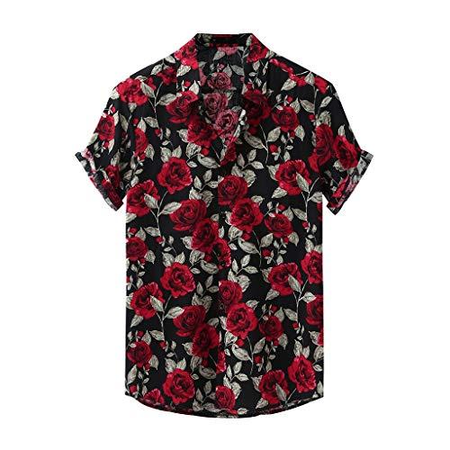 Yowablo Chemises Hommes Mode Imprimé Col Rabattu Manches Courtes Décontracté (XL,10Noir)