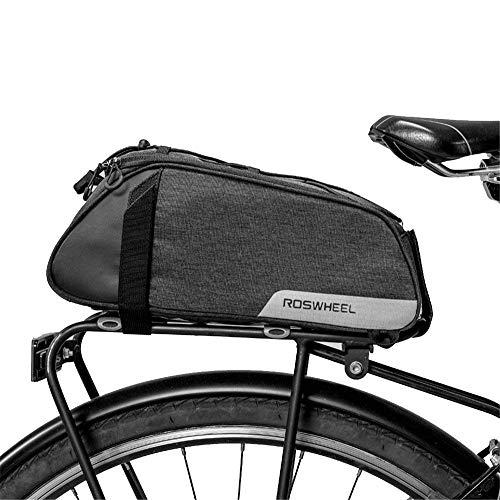 moonlux Unisex-Adult 1 Fahrradtasche Fahrrad Satteltasche Gepäcktasche Gepäckträger Tasche Rucksack Seitentasche 7L Schultertaschen Reflektierender, Schwarz, 1