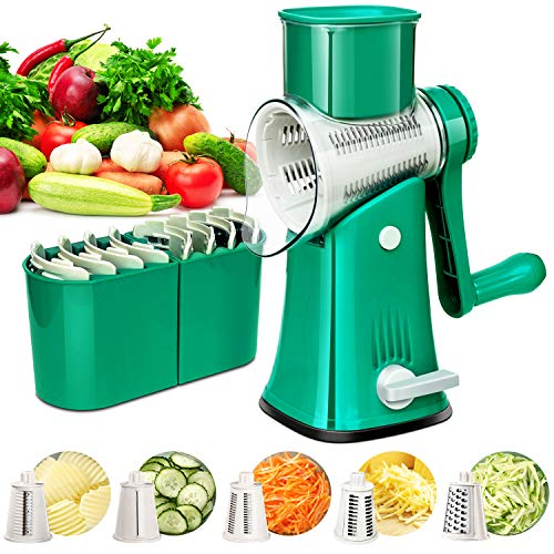 Rotary Cheese Grater with Handle - 5 in 1 Kitchen Mandoline Grater with Drum Blades - Rotary Grater Cheese Shredder for Fruit, Vegetables, Nuts