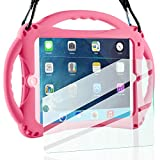 TopEsct iPad Mini Case Kids Shockproof Handle Stand Cover&(Tempered Glass Screen Protector) for iPad Mini, Mini 2, Mini 3 and iPad Mini Retina Models (Pink)