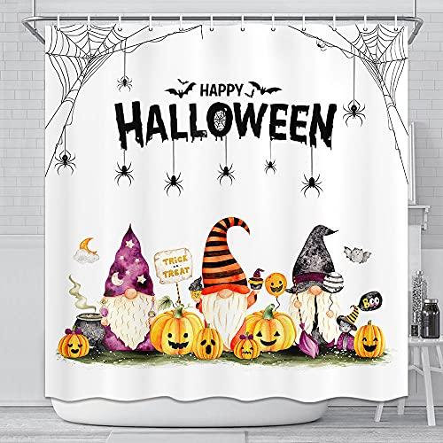 Herbst Halloween Zwerg Duschvorhang Candy Boo Kürbis Bauernhaus Badezimmer Dekor, lustige Herbst Zwerge Spinnennetz Home Badewanne Zubehör Gardinen Set mit Haken 183 x 183 cm