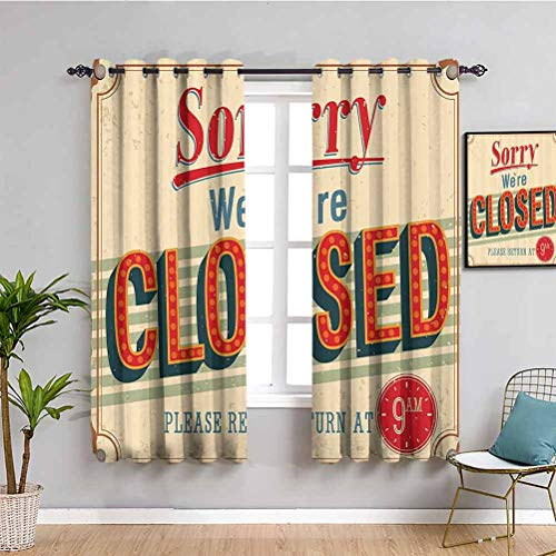 Vintage Decor Collection Kitchen curtain Vintage Old Fashioned Close Sign with Kitsch Lines Contemporary Decorative Illustration Daily use Red Ecru W63 x L45 Inch