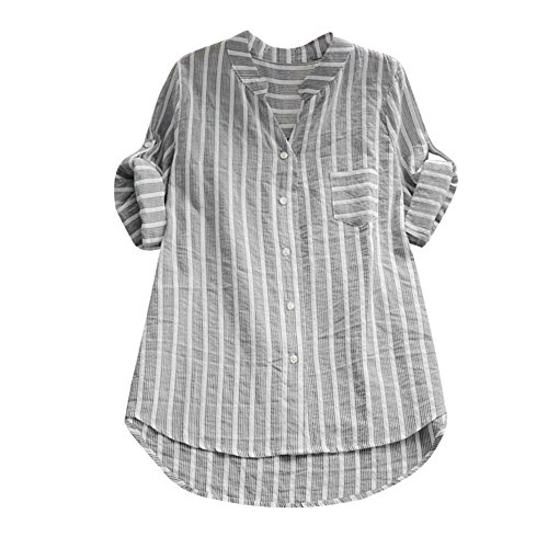 OverDose Damen Casual Frauen Stehkragen Langarm beiläufige lose Tunika Tops T Shirt Bluse Damen Sommer Herbst Langarmshirt Freizeit Oberteile(Z-a-Schwarz,XL)