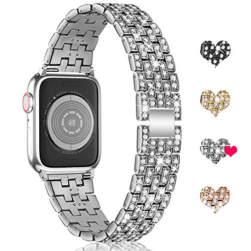 Marge Plus Compatible with Apple Watch Band 38mm 40mm 42mm 44mm, Women Jewelry Wristband Bling Diamond Metal Strap for iWatch Band Series 5 4 3 2 1 (Silver, 38mm/40mm)