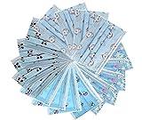 Plunge Kinder Gesichtschutz Mundschutz Klein 50 Staubschutz Einweg Dreischichtig Schutz mit Ohrringen Blau (Verschiedene Muster zufälliger Versenden)