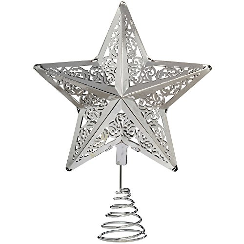 WeRChristmas Star Christmas Tree Top Decoration, 30 cm - Silver