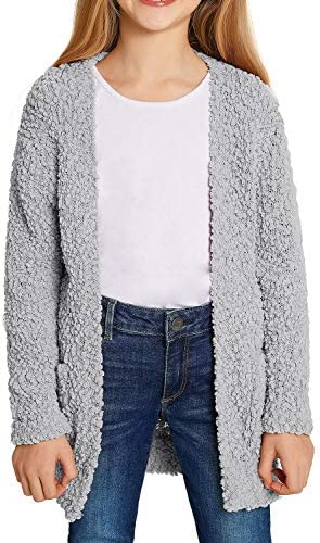 luvamia Girl s Casual Long Sleeve Open Front Long Cardigan Sweaters Fuzzy Coat with Pockets product image