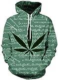 Loveternal Erba Felpe Uomo 3D Stampa Felpa con Cappuccio Pullover Weed Hoodie Manica Lunga Sweatshirt con Tasche M