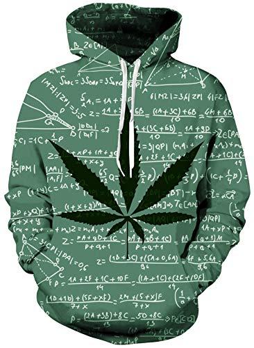 Loveternal Unisex Erwachsene 3D Unkraut Blatt Formel Grafik Print Kordel Tasche Make Up Pullover Hoodies Sweatshirt für Frauen Männer S
