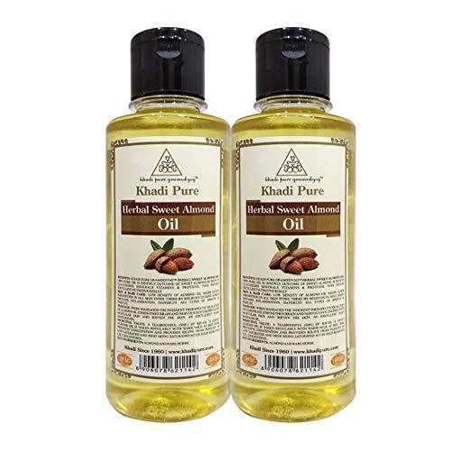 Khadi Pure Herbal Sweet Almond Oil, 210 ml (Pack of 2)