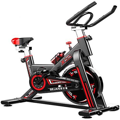 YLLN Bicicleta estática de Ciclismo Indoor, Volante de 6 kg impulsado por Correa Directa, Resistencia magnética, manivela de 3 Piezas, para Gimnasio de Cardio en casa con cómodo cojín del Asiento