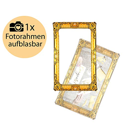L+H Aufblasbarer Fotorahmen XXL Gold | Premium Selfie-Rahmen 80 x 60 cm | Selfie Frame für Party Anlässe z.B. Geburtstag Hochzeit Silvester Baby Partys mit Fotoautomat Fotorequisiten Photo-Booth