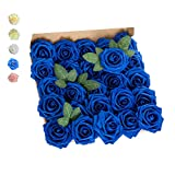 GeeSoft Artificial Flowers Blue Fake Roses Bulk Rose Flower Heads 50 PCS w/Stem for Crafts Bouquets for DIY Wedding Decorations Centerpieces Arrangements Party Home Garden Decor (Royal Blue, 50 pcs)