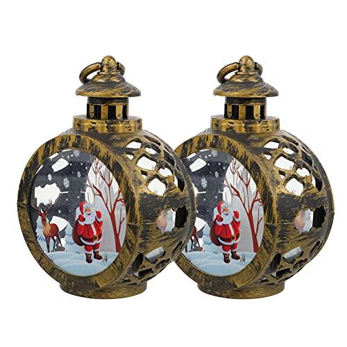 Milisten 2 Piezas de Linternas de Navidad Decorativas de Árbol de Navidad Linterna Colgante Mini Linterna con Velas LED Parpadeantes para Decoraciones de Boda de Halloween Centro de Mesa