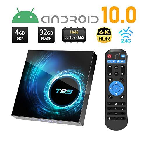 TV BOX Android 10.0, Sidiwen T95 Andriod Box 4GB RAM/32GB ROM H616 Quad-Core Media Play, 2.4/5.0GHz Dual WiFi Ethernet 6K Ultra HD/3D Bluetooth 5.0 Smart TV BOX