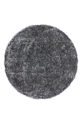 Kayoom Teppich Diamond 700 Grau/Weiß Grau/Weiß Ø 160cm Rund 100% Polyester
