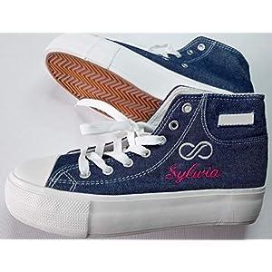 Damen Jeans Sneaker Gr. 36 bis 41 Turnschuhe individuell bestickt (fallen klein aus- Tatsächlich 1 Nr. kleiner)