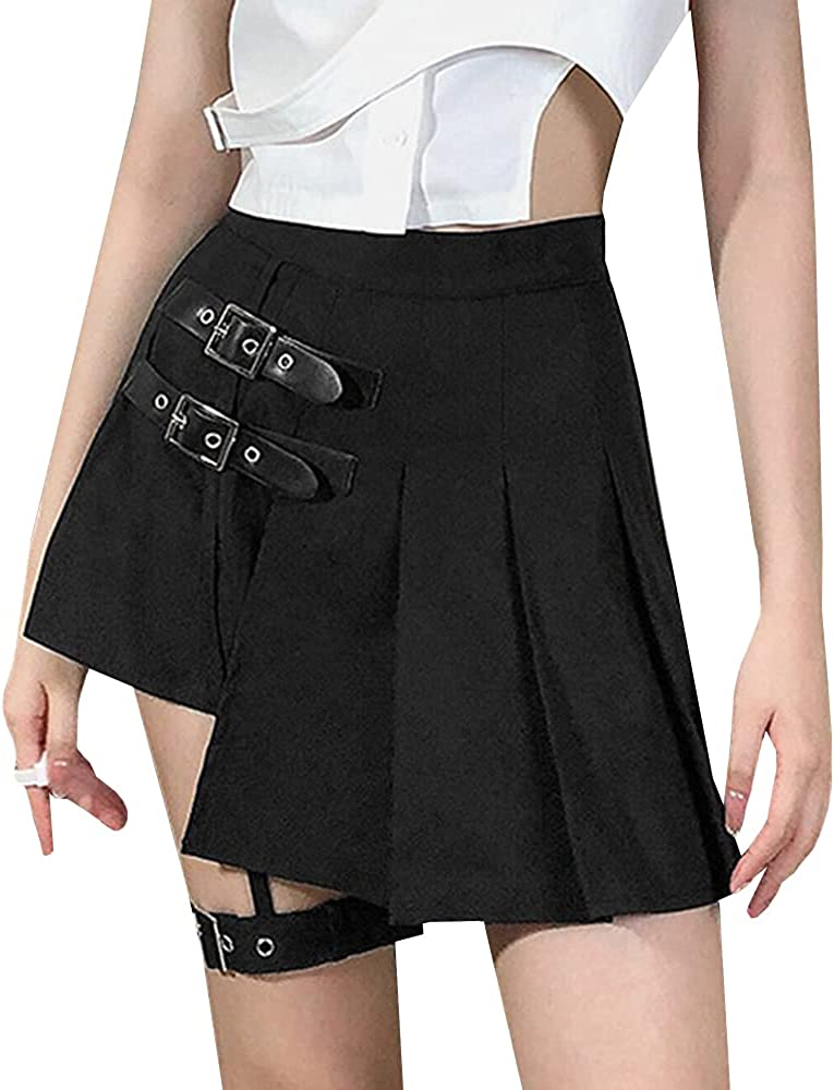 YM YOUMU Women Girls Harajuku Gothic Punk Skirt High Waist A-line Summer Pleated Skirt