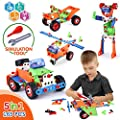 VATOS STEM Building Toys 165 Piece Learning Toy Kit Educational Construction Engineering Fun Building Block Set for boys age 4- 5 6 7 8 9 Year Old Boys & Girls Best Birthday Christmas Gift for Kids