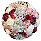 Abbie Home Advanced Customization Romantic Bride Wedding Holding Toss Bouquet Creamy White Rose Brooch with Pearls and Rhinestone decorative brooches Accessories-Multi color (Blush + Burgundy +Creamy)