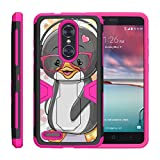 TurtleArmor   Compatible with ZTE ZMax Pro Case   ZTE Blade X Max Case [Clip Caliber] High Impact Shockproof Silicone Armor Kickstand Holster Belt Clip Pink Case - Cute Penguin