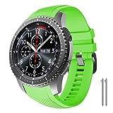 NotoCity Correa Compatible con Samsung Gear S3 Classic/Frontier/Galaxy Watch 46mm, Correa de Reloj de Silicona Suave Compatible con Gear S3 Classic/ S3 Frontier/Galaxy 46mm (Verde)